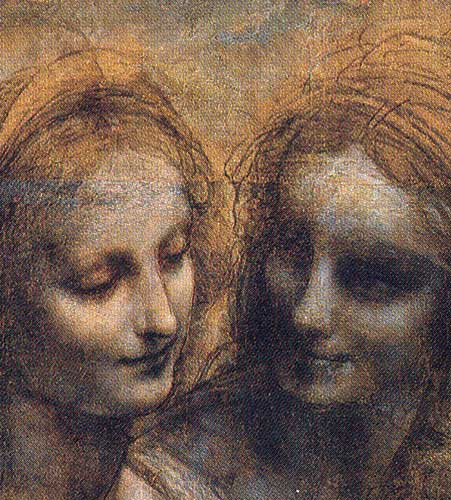 Leonardo Da Vinci Burlington House Cartoon (Mary, Christ, St. Anne and the Infant St. John) detail 1499