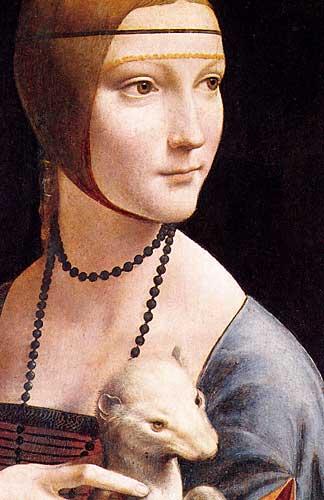 Leonardo Da Vinci Portrait of Cecilia Gallerani (Lady with an Ermine) detail