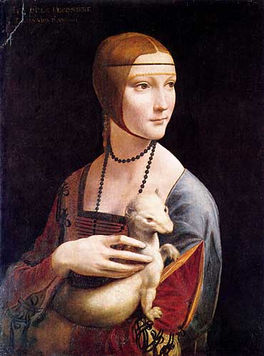 Leonardo Da Vinci Portrait of Cecilia Gallerani (Lady with an Ermine)