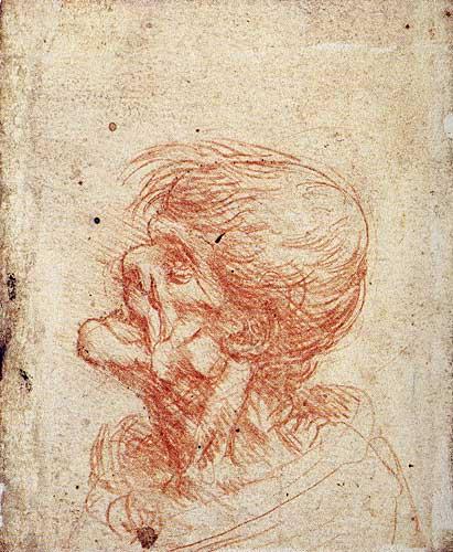Leonardo Da Vinci Grotesk Baş için Profil Etüdü, 1500-1505