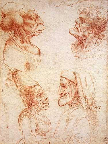 Grotesk Portre Etüdleri ve Dante karikatürü (sağ alt)