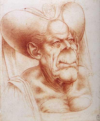 Leonardo da Vinci a grotesque old woman