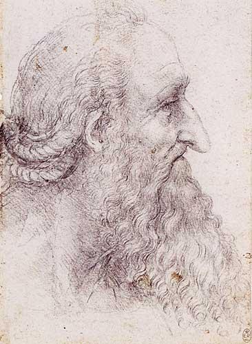 Sakallı ve Saçları Örülü Yaşlı Erkek Profil Etüdü, 1511-1513