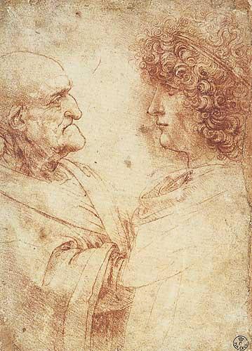 Leonardo Da Vinci Yaşlı Erkek ve Bir Genç (Salai) Profil Etüdleri, 1500-1505