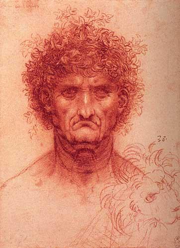 Leonardi Da Vinci Yaşlıca Bir Erkeğin Başı ve Bir Aslan Başı Taslağı, 1505-1510