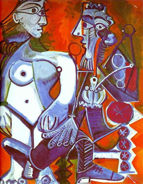 Pablo Picasso - Female nu and Smoker 1968