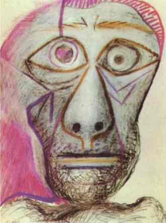 Pablo Picasso - Self-Portrait. 1972. Crayons