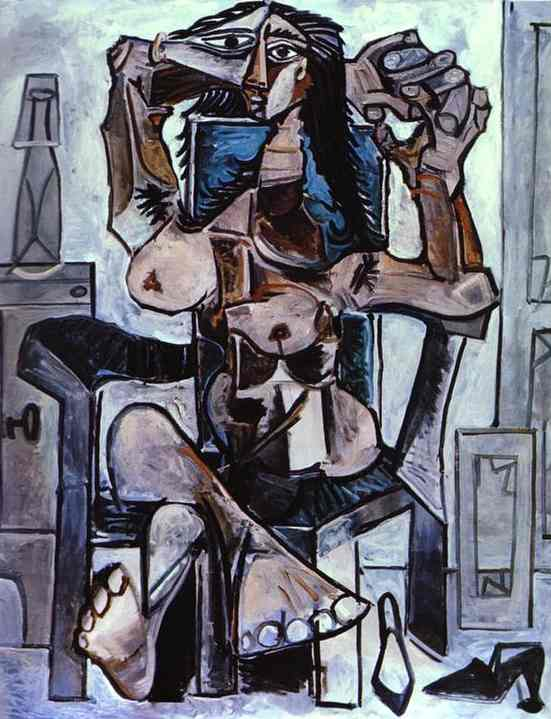 Pablo Picasso - nu in an Armchair with a Bottle of Evian Water a Glass and Shoes