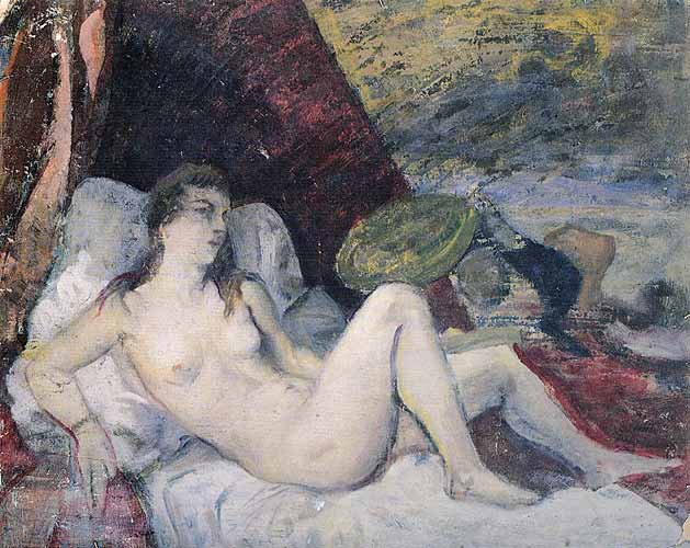 İbrahim Çallı Resimleri yatakta uzanan kadın