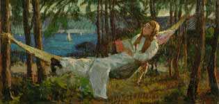 İbrahim Çallı hamakta yatan kadın tablosu hamakta uzanan kadın resmi